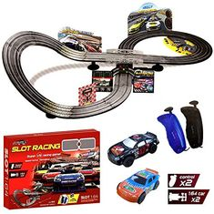 Rexco Large Electric Battery Operated Remote Control Light Up Slot Car Racing track Set Kids Toy Childrens Game Boys Xmas Gift JJ85-1