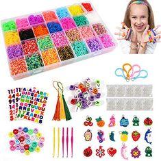 Kit Completo 6800 Loom Bands Gomitas para Hacer Pulseras con Caja de Almacenaje CREA de brazaletes y Loom Juguetes con 22 Color Rainbow Caucho Kit para Pulseras para Juego Creativo para ni/ños