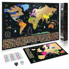 Mappa del Mondo da grattare da grattare Via i posti in Cui Viaggi Anpro Poster Mappa del Mondo Tubo per la conservazione i Migliori Dettagli cartografici