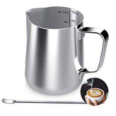 Lambda Coffee tefl/ón, para espumar Leche, Acero Inoxidable, para Hacer Espuma de Leche y para Hacer Leche de Leche, con Recubrimiento de tefl/ón, Negro, 350 ml Jarra de Leche para Barista